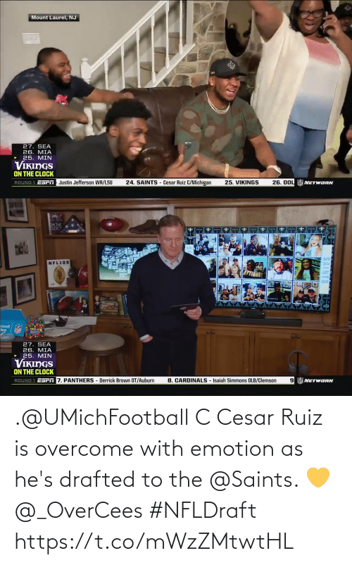 New Orleans Saints: .@UMichFootball C Cesar Ruiz is overcome with emotion as he's drafted to the @Saints. 💛 @_OverCees #NFLDraft https://t.co/mWzZMtwtHL