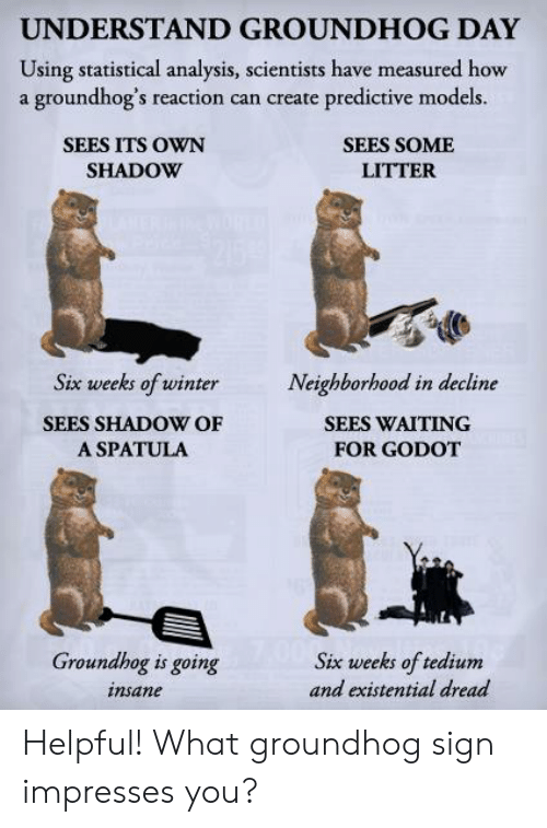 groundhog: UNDERSTAND GROUNDHOG DAY  Using statistical analysis, scientists have measured how  a groundhog's reaction can create predictive models.  SEES ITS OWN  SHADOW  SEES SOME  LITTER  Six weeks of winterNeighborhood in decline  SEES SHADOW OF  A SPATULA  SEES WAITING  FOR GODOT  Groundhog is going  insane  Six weeks of tedium  and existential dread Helpful! What groundhog sign impresses you?