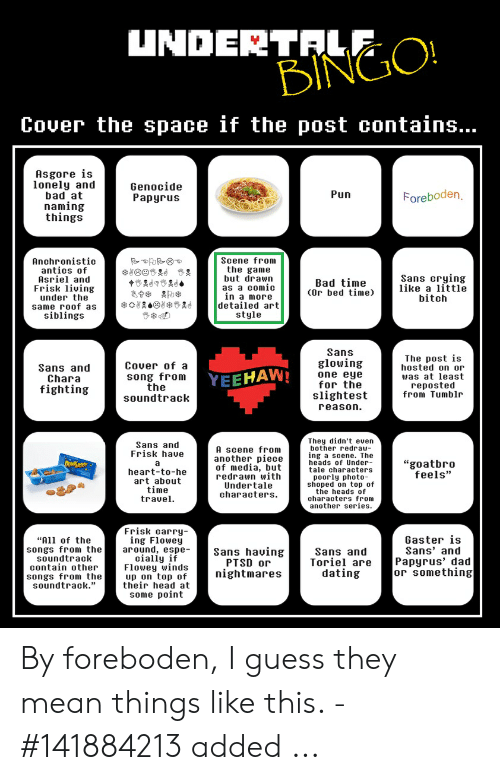 UNDERTALE BINGO! Cover the Space if the Post Contains Asgore