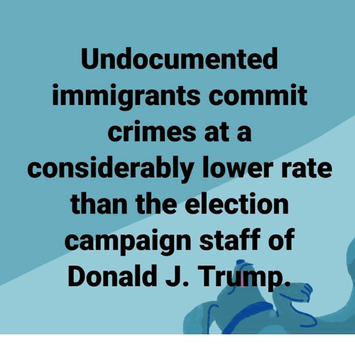 Memes, Trump, and 🤖: Undocumented  immigrants commit  crimes at a  considerably lower rate  than the election  campaign staff of  Donald J. Trump.