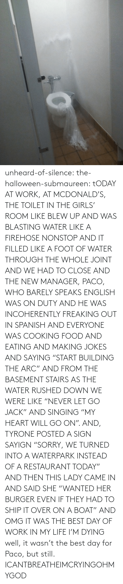 """And The New: unheard-of-silence:  the-halloween-submaureen:  tODAY AT WORK, AT MCDONALD'S, THE TOILET IN THE GIRLS' ROOM LIKE BLEW UP AND WAS BLASTING WATER LIKE A FIREHOSE NONSTOP AND IT FILLED LIKE A FOOT OF WATER THROUGH THE WHOLE JOINT AND WE HAD TO CLOSE AND THE NEW MANAGER, PACO, WHO BARELY SPEAKS ENGLISH WAS ON DUTY AND HE WAS INCOHERENTLY FREAKING OUT IN SPANISH AND EVERYONE WAS COOKING FOOD AND EATING AND MAKING JOKES AND SAYING """"START BUILDING THE ARC"""" AND FROM THE BASEMENT STAIRS AS THE WATER RUSHED DOWN WE WERE LIKE """"NEVER LET GO JACK"""" AND SINGING """"MY HEART WILL GO ON"""". AND, TYRONE POSTED A SIGN SAYIGN """"SORRY, WE TURNED INTO A WATERPARK INSTEAD OF A RESTAURANT TODAY"""" AND THEN THIS LADY CAME IN AND SAID SHE """"WANTED HER BURGER EVEN IF THEY HAD TO SHIP IT OVER ON A BOAT"""" AND OMG IT WAS THE BEST DAY OF WORK IN MY LIFE I'M DYING well, it wasn't the best day for Paco, but still.  ICANTBREATHEIMCRYINGOHMYGOD"""