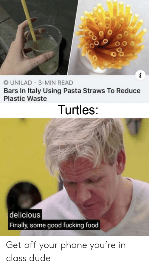 Dude, Food, and Fucking: UNILAD 3-MIN READ  Bars In Italy Using Pasta Straws To Reduce  Plastic Waste  Turtles:  delicious  Finally, some good fucking food Get off your phone you're in class dude