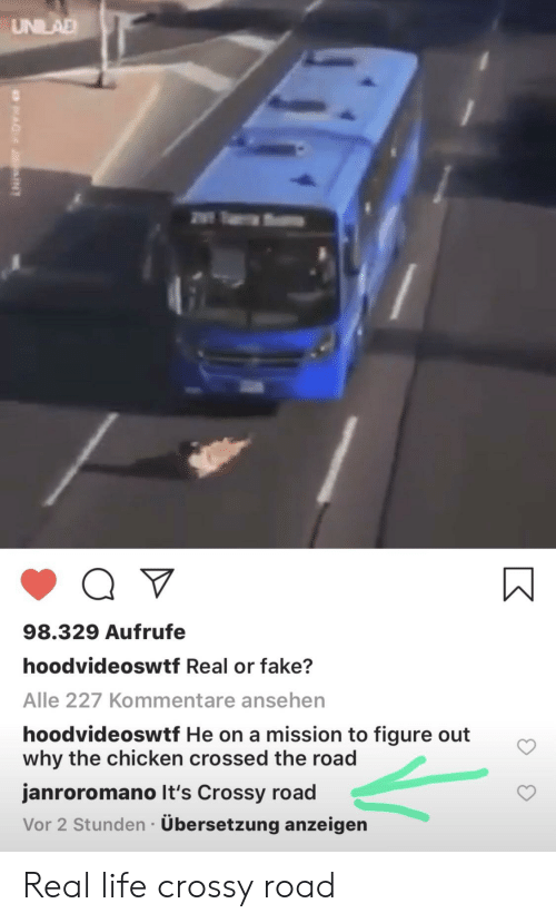Fake, Funny, and Life: UNILAD  98.329 Aufrufe  hoodvideoswtf Real or fake?  Alle 227 Kommentare ansehen  hoodvideoswtf He on a mission to figure out  why the chicken crossed the road  janroromano It's Crossy road  Vor 2 Stunden Übersetzung anzeigen Real life crossy road