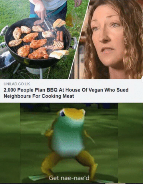 unilad: UNILAD CO.UK  2,000 People Plan BBQ At House Of Vegan Who Sued  Neighbours For Cooking Meat  Get nae-nae'd