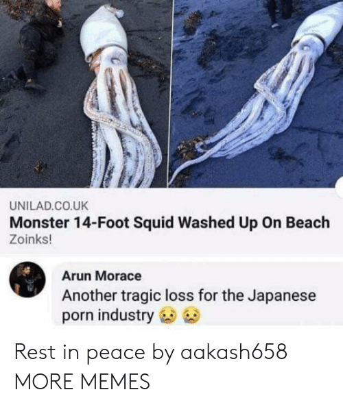 Dank, Memes, and Monster: UNILAD.CO.UK  Monster 14-Foot Squid Washed Up On Beach  Zoinks!  Arun Morace  Another tragic loss for the Japanese  porn industry Rest in peace by aakash658 MORE MEMES