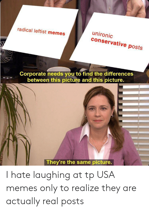 Usa Memes: unironic  conservative posts  radical leftist memes  Corporate needs you to find the differences  between this picture and this picture.  They're the same picture. I hate laughing at tp USA memes only to realize they are actually real posts