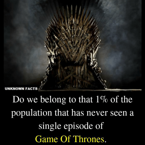 of game of thrones: UNKNOWN FACTS  Do we belong to that 1% of the  population that has never seen a  single episode of  Game Of Thrones.