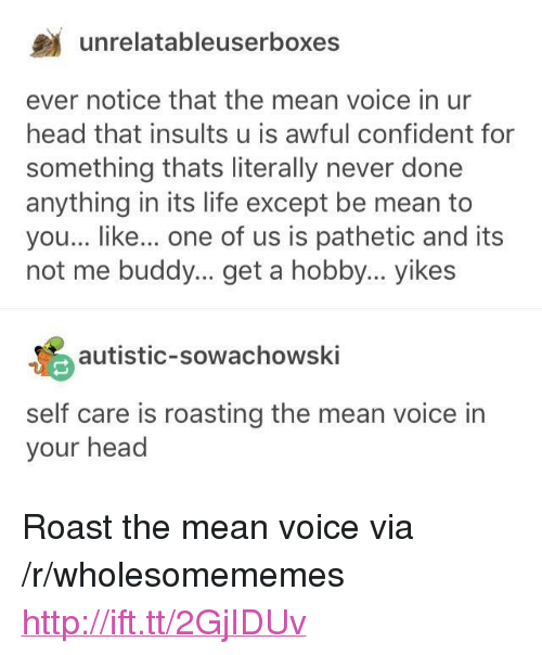 """Head, Life, and Roast: unrelatableuserboxes  ever notice that the mean voice in ur  head that insults u is awful confident for  something thats literally never done  anything in its life except be mean to  you... like... one of us is pathetic and its  not me buddy... get a hobby... yikes  autistic-sowachowski  self care is roasting the mean voice in  your head <p>Roast the mean voice via /r/wholesomememes <a href=""""http://ift.tt/2GjIDUv"""">http://ift.tt/2GjIDUv</a></p>"""