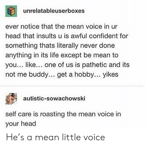 Roasting: unrelatableuserboxes  ever notice that the mean voice in ur  head that insults u is awful confident for  something thats literally never done  anything in its life except be mean to  you... like... one of us is pathetic and its  not me buddy.. get a hobby... yikes  autistic-sowachowski  self care is roasting the mean voice in  your head He's a mean little voice