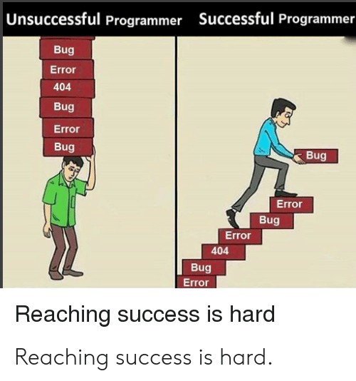 Reaching: |Unsuccessful Programmer Successful Programmer  Bug  Error  404  Bug  Error  Bug  Bug  Error  Bug  Error  404  Bug  Error  Reaching success is hard Reaching success is hard.