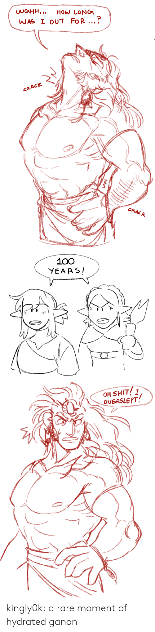 Shit, Tumblr, and Blog: UOGHH,  How LoNG  WAS I OUT FoR..  CRACK  CRACK   100  YEARS   OH SHIT! I  OVERSLEPT kingly0k:  a rare moment of hydrated ganon