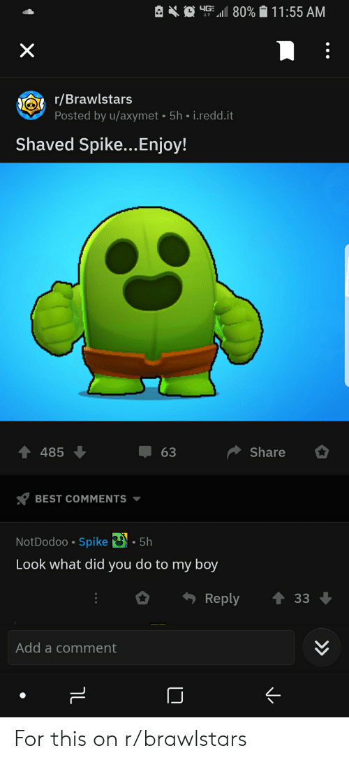 Best, Beetlejuicing, and Best Comments: up  11 80%-11 :55 AM  r/Brawlstars  Posted by u/axymet 5h i.redd.it  Shaved Spike...Enjoy!  4485  63  Share  BEST COMMENTS ▼  NotDodoo Spike  . 5h  Look what did you do to my boy  Reply  33  Add a comment  2 For this on r/brawlstars