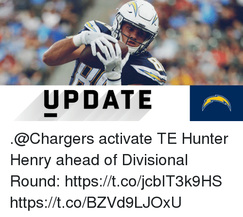 Memes, Chargers, and 🤖: UPDATE .@Chargers activate TE Hunter Henry ahead of Divisional Round: https://t.co/jcbIT3k9HS https://t.co/BZVd9LJOxU