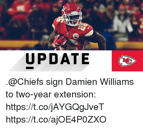Memes, Chiefs, and 🤖: UPDATE .@Chiefs sign Damien Williams to two-year extension: https://t.co/jAYGQgJveT https://t.co/ajOE4P0ZXO
