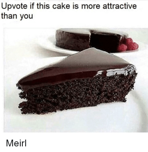 Cake, MeIRL, and You: Upvote if this cake is more attractive  than you Meirl