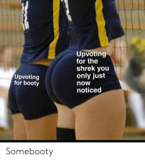 Booty, Shrek, and You: Upvoting  for the  shrek you  only just  Upvoting  for booty  now  noticed Somebooty