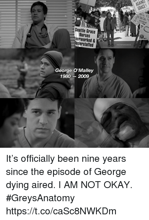 Memes, Okay, and Seattle: Ur  GRACE  ses  Tr  Seattle Grace  Nurses  verworked &  aderstaffed  FACTSFORGREYS  George O'Malley  1980 2009 It's officially been nine years since the episode of George dying aired. I AM NOT OKAY. #GreysAnatomy https://t.co/caSc8NWKDm