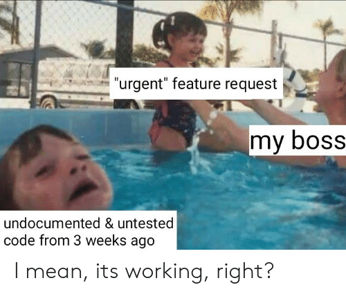 "Mean, Working, and Boss: ""urgent"" feature request  my boSS  undocumented & untested  code from 3 weeks ago I mean, its working, right?"