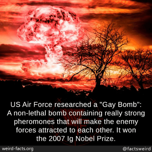 "Air Force: US Air Force researched a ""Gay Bomb"":  A non-lethal bomb containing really strong  pheromones that will make the enemy  forces attracted to each other. It won  the 2007 lg Nobel Prize.  weird-facts.org  @factsweird"
