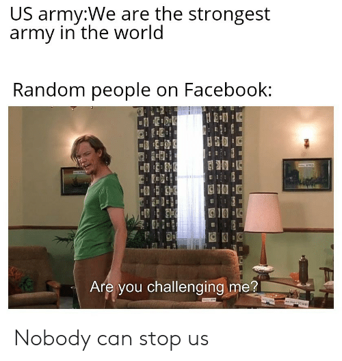 Facebook, Army, and World: US army:We are the strongest  army in the world  Random people on Facebook:  Are you challenging me?  ww  T Nobody can stop us