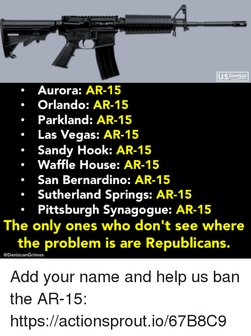 Waffle House: US DemSoc  Aurora: AR-15  Orlando: AR-15  Parkland: AR-15  .Las Vegas: AR-15  Sandy Hook: AR-15  Waffle House: AR-15  .San Bernardino: AR-15  Sutherland Springs: AR-15  Pittsburgh Synagogue: AR-15  The only ones who don't see where  the problem is are Republicans.  @DenizcanGrimes Add your name and help us ban the AR-15: https://actionsprout.io/67B8C9