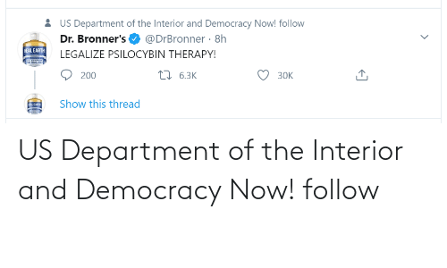 department: US Department of the Interior and Democracy Now! follow