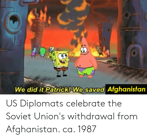 Afghanistan: US Diplomats celebrate the Soviet Union's withdrawal from Afghanistan. ca. 1987