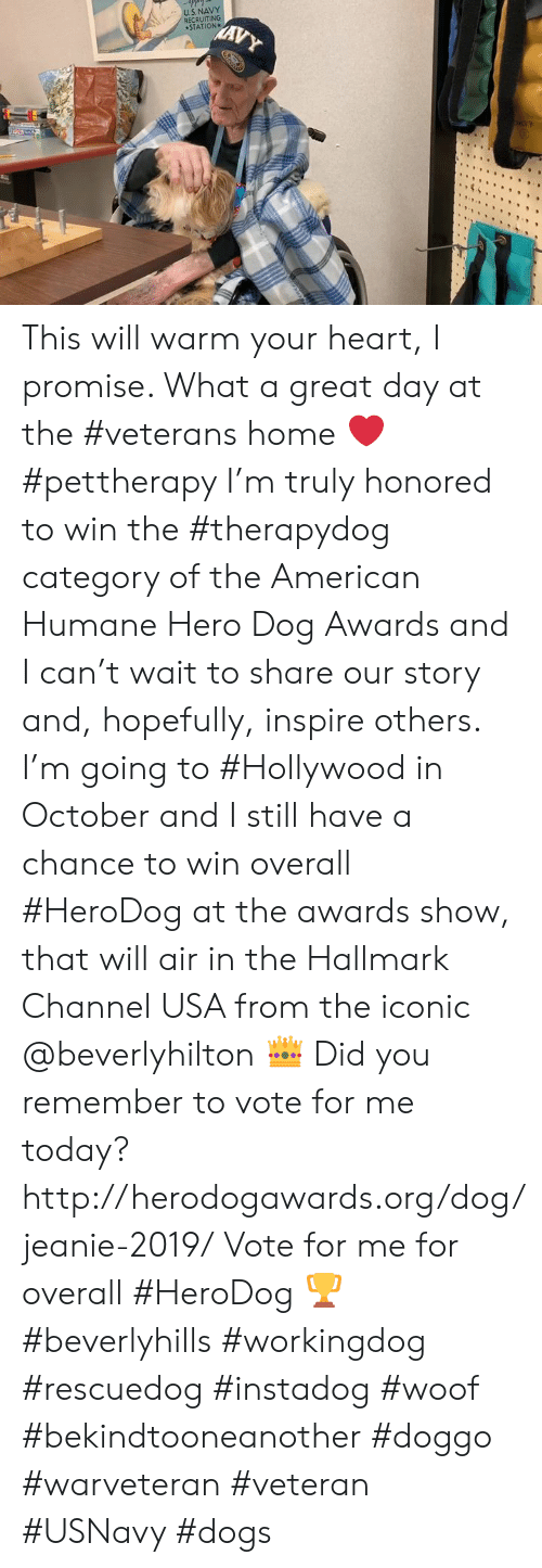 Dogs, Memes, and American: US. NAVY  RECRUITING  STATION  MAVY This will warm your heart, I promise. What a great day at the #veterans home ❤️ #pettherapy   I'm truly honored to win the #therapydog category of the American Humane Hero Dog Awards and I can't wait to share our story and, hopefully, inspire others.  I'm going to #Hollywood in October and I still have a chance to win overall #HeroDog at the awards show, that will air in the Hallmark Channel USA from the iconic @beverlyhilton 👑  Did you remember to vote for me today? http://herodogawards.org/dog/jeanie-2019/ Vote for me for overall #HeroDog 🏆  #beverlyhills #workingdog #rescuedog #instadog #woof #bekindtooneanother #doggo #warveteran #veteran #USNavy #dogs