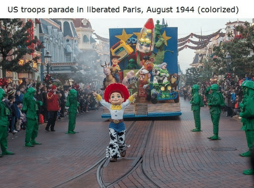 Paris, August, and Parade: US troops parade in liberated Paris, August 1944 (colorized)
