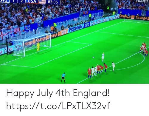 England, Memes, and Happy: USA  83:05  tRANCE  ENGLAND  range lide PROMAN OUiHOU nOU inOU inOuOrahse Orange  ON TOU  TGY  Ui in Dui nou ange Happy July 4th England! https://t.co/LPxTLX32vf