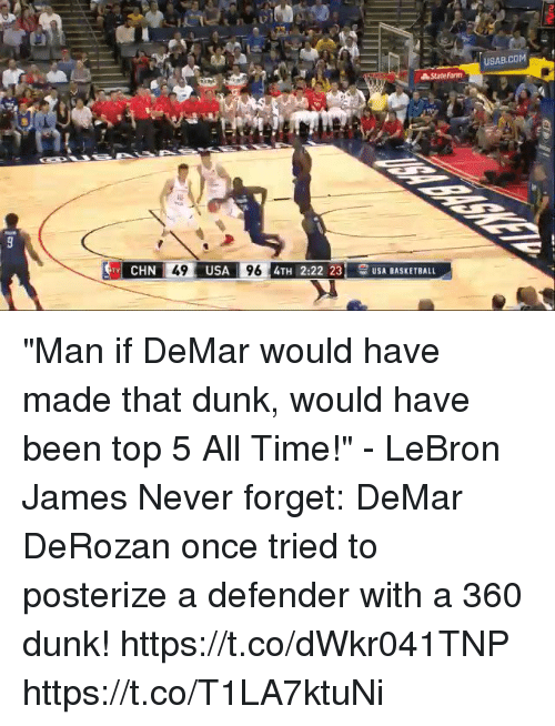 "Basketball, DeMar DeRozan, and Dunk: USAB.COM  CHN  49  USA  96  4TH 2:22 23 USA BASKETBALL ""Man if DeMar would have made that dunk, would have been top 5 All Time!"" - LeBron James   Never forget: DeMar DeRozan once tried to posterize a defender with a 360 dunk!  https://t.co/dWkr041TNP https://t.co/T1LA7ktuNi"