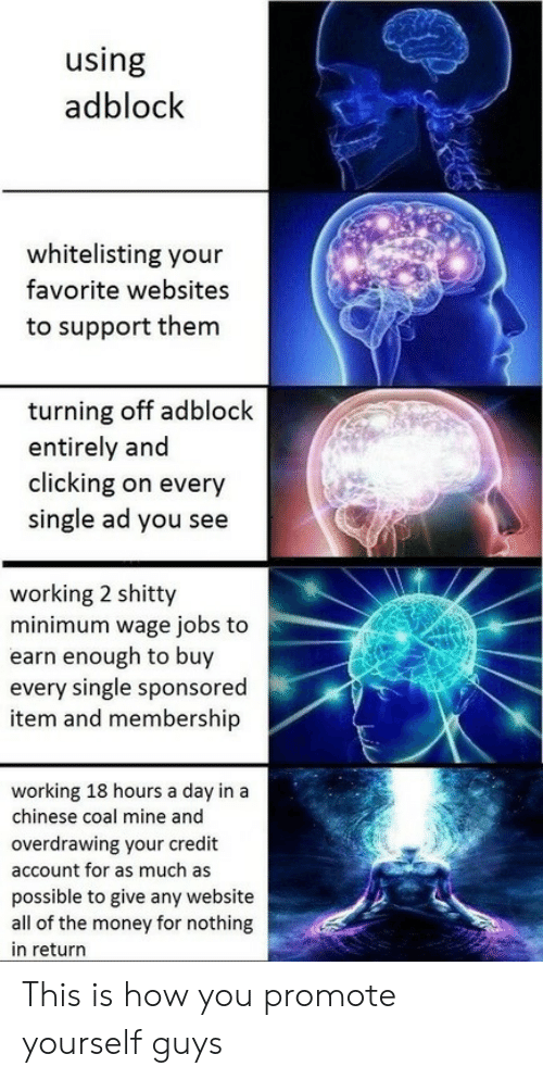 Money, Chinese, and Jobs: using  adblock  whitelisting your  favorite websites  to support them  turning off adblock  entirely and  clicking on every  single ad you see  working 2 shitty  minimum wage jobs to  earn enough to buy  every single sponsored  item and membership  working 18 hours a day in a  chinese coal mine and  overdrawing your credit  account for as much as  possible to give any website  all of the money for nothing  in return This is how you promote yourself guys
