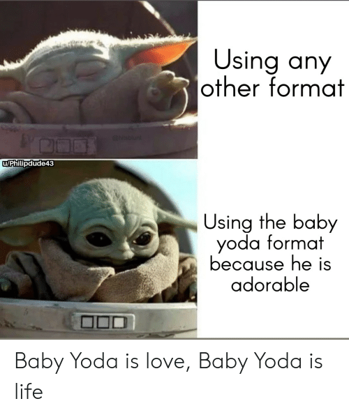 Life, Love, and Yoda: Using any  other format  @hitsblunt  uPhillipdude43  Using the baby  yoda format  because he is  adorable Baby Yoda is love, Baby Yoda is life