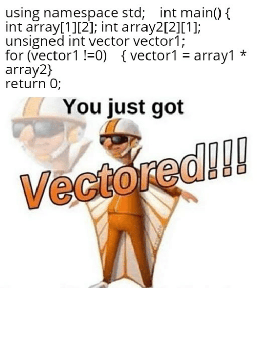 "namespace: using namespace std; int main() {  int array[1][2]; int array2[2][1];  unsigned int vector vector1;  for (vector1 !=0) {vector1 = array1 *  array2}  return 0;  You just got  Vectored!! Cout << ""Comedy Achieved"" << endl;"