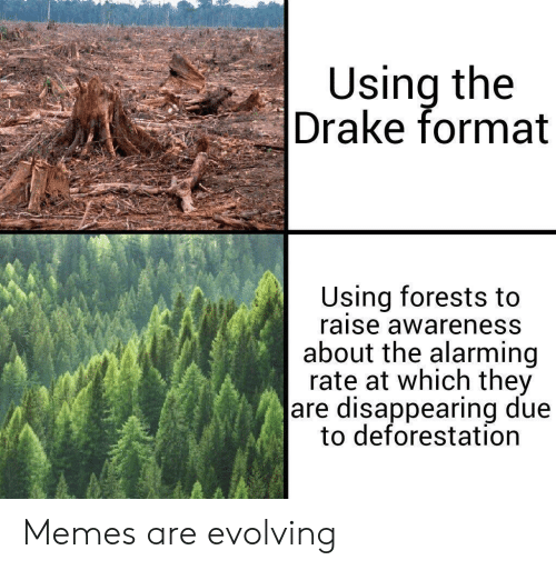 Drake, Memes, and Alarming: Using the  Drake format  Using forests to  raise awareness  about the alarming  rate at which they  are disappearing due  to deforestation Memes are evolving