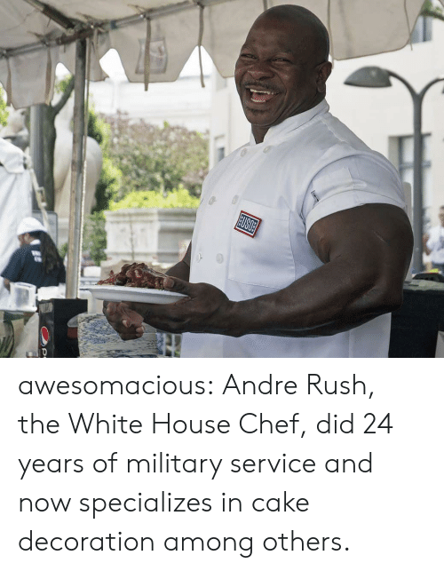 White House: USOE awesomacious:  Andre Rush, the White House Chef, did 24 years of military service and now specializes in cake decoration among others.