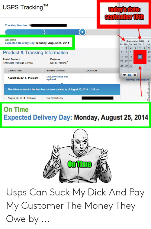 USPS Tracking TM Today's Date September 18th Tracking Number 94 on