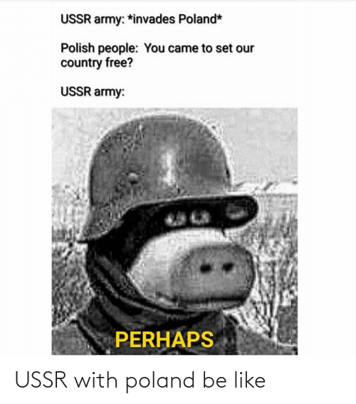 Polish People: USSR army: *invades Poland*  Polish people: You came to set our  country free?  USSR army:  PERHAPS USSR with poland be like