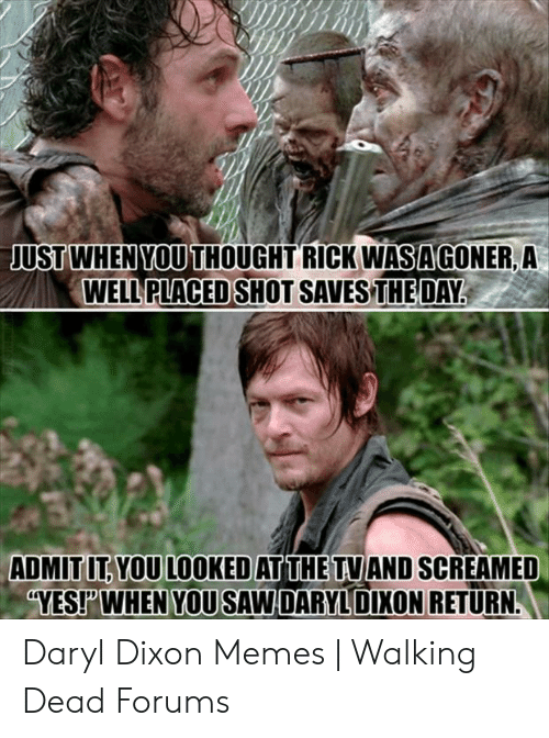 Daryl Dixon Memes: USTWHEN YOU  USTWHEN YOU THOUGHT RICK WASAGONER, A  WELL PLACED  SHOT SAVES THEDAY.  ADMIT IT YOU LOOKED AT THE TVIAND SCREAMED  YEST WHEN YOU SAW DARYLDIXON RETURN Daryl Dixon Memes | Walking Dead Forums