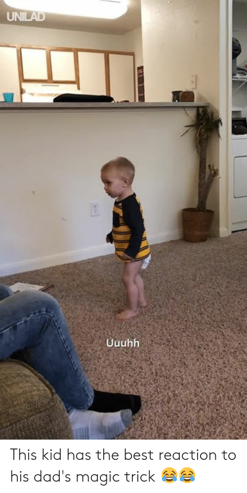 Magic Trick: Uuuhh This kid has the best reaction to his dad's magic trick 😂😂