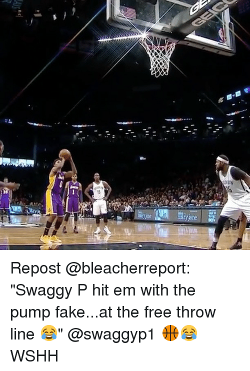"""Swaggy P: V Repost @bleacherreport: """"Swaggy P hit em with the pump fake...at the free throw line 😂"""" @swaggyp1 🏀😂 WSHH"""