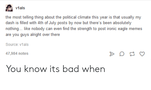 Post Ironic: v1als  the most telling thing about the political climate this year is that usually my  dash is filled with 4th of July posts by now but there's been absolutely  nothing... like nobody can even find the strength to post ironic eagle memes  are you guys alright over there  Source: v1als  47,984 notes You know its bad when