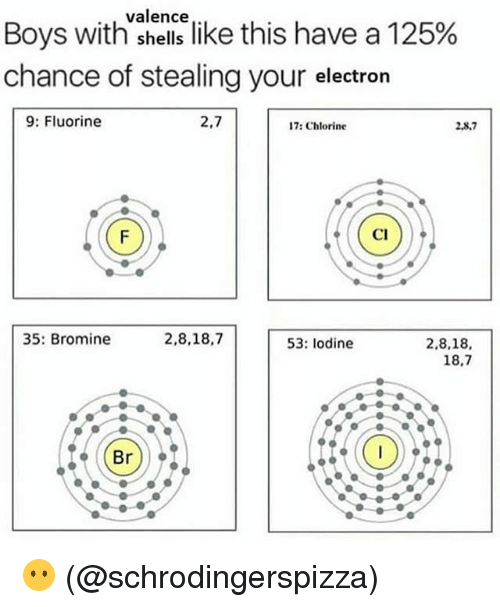 """Memes, Boys, and 🤖: valence  Boys with""""shellslike this have a 125%  chance of stealing your electrorn  9: Fluorine  2,7  17: Chlorine  2.8.7  Cl  35: Bromine  2,8,18,7  53: lodine  2,8,18,  18.7  Br) 😶 (@schrodingerspizza)"""