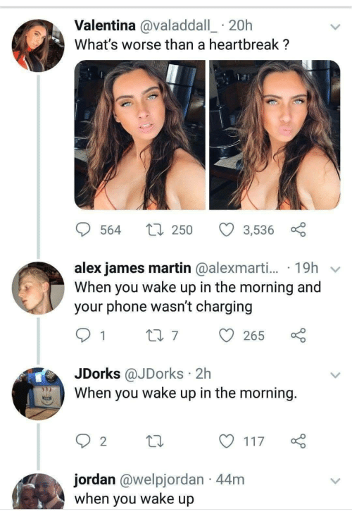 Martin, Phone, and Jordan: Valentina @valaddall_ 20h  What's worse than a heartbreak ?  564  250  3,536  alex james martin @alexmarti... 19h v  When you wake up in the morning and  your phone wasn't charging  07265  JDorks @JDorks 2h  When you wake up in the morning  2  y117  jordan @welpjordan 44m  when you wake up