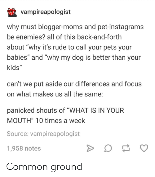 "Moms, Rude, and Blogger: vampireapologist  why must blogger-moms and pet-instagrams  be enemies? all of this back-and-forth  about ""why it's rude to call your pets your  babies"" and ""why my dog is better than your  kids""  ID  can't we put aside our differences and focus  on what makes us all the same:  panicked shouts of ""WHAT IS IN YOUR  MOUTH"" 10 times a week  Source: vampireapologist  1,958 notes Common ground"