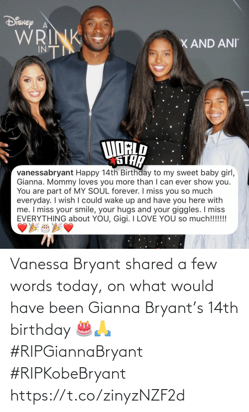 Shared: Vanessa Bryant shared a few words today, on what would have been Gianna Bryant's 14th birthday 🎂🙏 #RIPGiannaBryant #RIPKobeBryant https://t.co/zinyzNZF2d