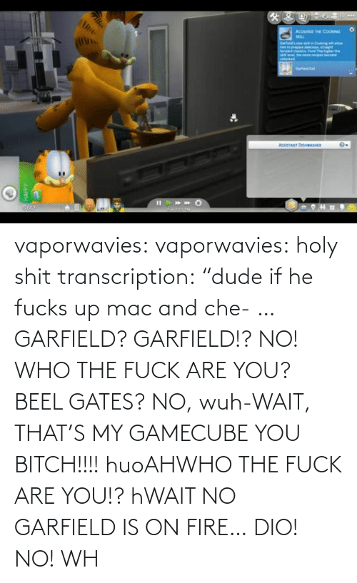 "who: vaporwavies:  vaporwavies: holy shit transcription: ""dude if he fucks up mac and che- … GARFIELD? GARFIELD!? NO! WHO THE FUCK ARE YOU? BEEL GATES? NO, wuh-WAIT, THAT'S MY GAMECUBE YOU BITCH!!!! huoAHWHO THE FUCK ARE YOU!? hWAIT NO GARFIELD IS ON FIRE… DIO! NO! WH"