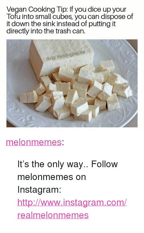 "Instagram, Trash, and Tumblr: Vegan Cooking Tip: If you dice up your  Tofu into small cubes, you can dispose of  it down the sink instead of putting it  directly into the trash can.  fb/ig: ReddingBeLike <p><a href=""https://melonmemes.tumblr.com/post/171464868800/its-the-only-way-follow-melonmemes-on"" class=""tumblr_blog"">melonmemes</a>:</p>  <blockquote><p>It's the only way.. Follow melonmemes on Instagram: <a href=""http://www.instagram.com/realmelonmemes"">http://www.instagram.com/realmelonmemes</a></p></blockquote>"