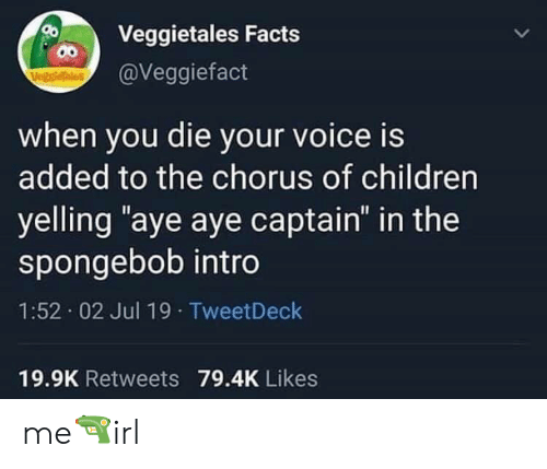"Children, Facts, and SpongeBob: Veggietales Facts  00  @Veggiefact  VegstieTales  when you die your voice is  added to the chorus of children  yelling ""aye aye captain"" in the  spongebob intro  1:52 02 Jul 19 TweetDeck  19.9K Retweets 79.4K Likes me🔫irl"
