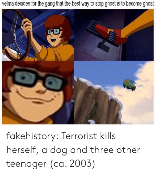Target, Tumblr, and Gang: velma decides for the gang that the best way to stop ghost is to become ghost fakehistory:  Terrorist kills herself, a dog and three other teenager (ca. 2003)